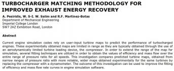 Turbocharger Matching Methodology for Improved Exhaust Energy Recovery